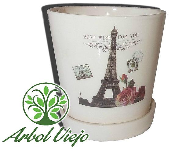Maceta Ceramica Cono con Plato Mediano - ARBOL VIEJO