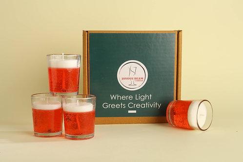 "Joyous Beam 2.5"" Ravishing Red Gel Candle (Set of 4)"