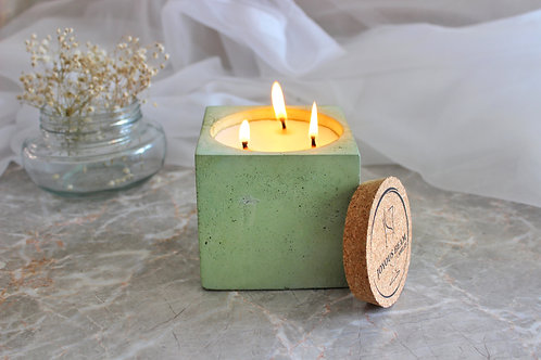 Joyous Beam Soothing Patchouli and Cedarwood - Triple Wick Concrete Cube Candle