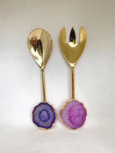 Emaarat Home Purple & Gold Salad Server