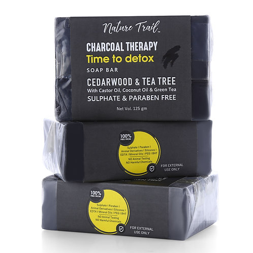 Nature Trail Charcoal Therapy Organic Soap Bar (Pack of 3)