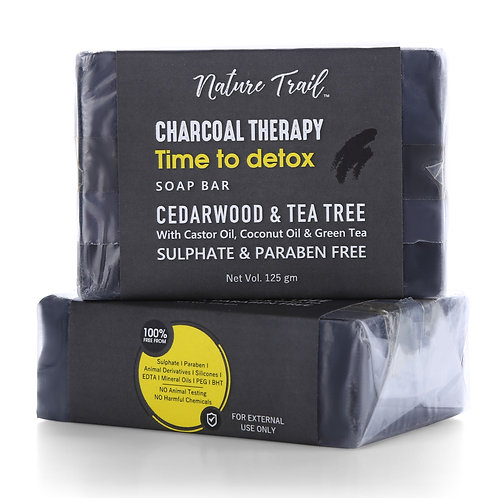 Nature Trail Charcoal Therapy Organic Soap Bar (Pack of 2)