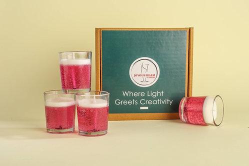 "Joyous Beam 2.5"" Calming Pink Gel Candle (Set of 4)"