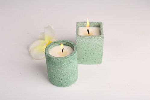 Joyous Beam Green Concrete Candle (Set of 2)