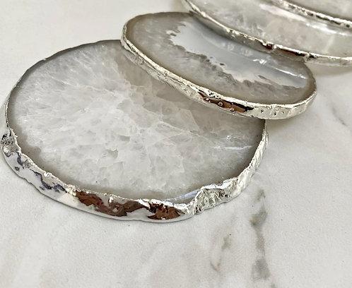 Emaarat Home Grey & Silver Coasters (Set of 2)