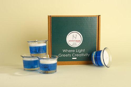 "Joyous Beam 2"" Pleasing Blue Gel Candle (Set of 4)"