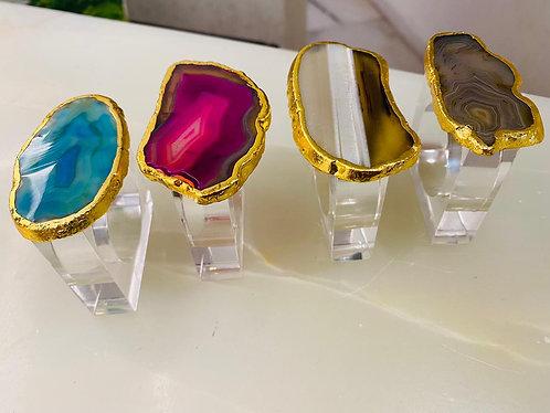 Emaarat Home Agate Napkin Rings (Set of 2)