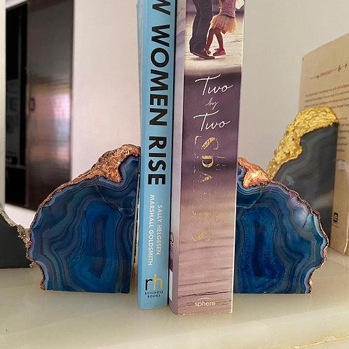 Emaarat Home Blue & Rose Gold Book End