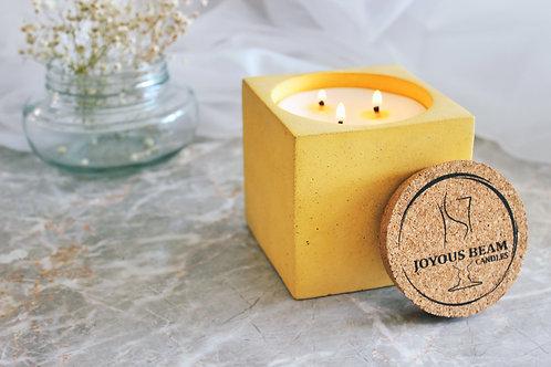 Joyous Beam Tender Vanilla - Triple Wick Concrete Cube Candle