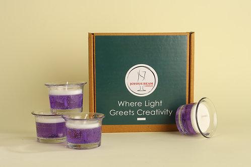"Joyous Beam 2"" Spiritual Purple Gel Candle (Set of 4)"