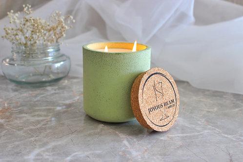 Joyous Beam Fresh Lemon and Eucalyptus - Double Wick Concrete Tumbler Candle