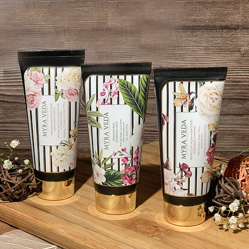 Myra Veda Hawaiian Mud Scrub + Mediterranean Lotion + Moroccan Argan Shampoo