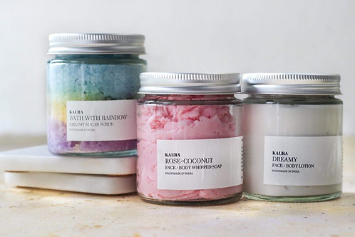 Kaura Relax Bundle (Scrub + Whipped Soap + Lotion)