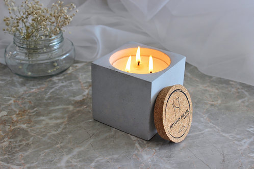 Joyous Beam Coffee and Mocha - Triple Wick Concrete Cube Candle