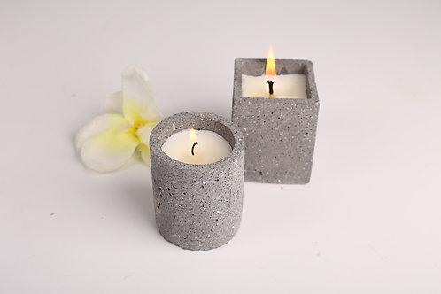 Joyous Beam Grey Concrete Candle (Set of 2)
