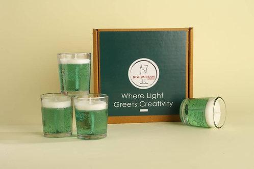 "Joyous Beam 2.5"" Subtle Green Gel Candle (Set of 4)"