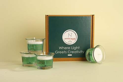 "Joyous Beam 2"" Subtle Green Gel Candle (Set of 4)"
