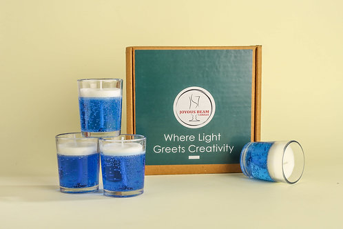 "Joyous Beam 2.5"" Pleasing Blue Gel Candle (Set of 4)"