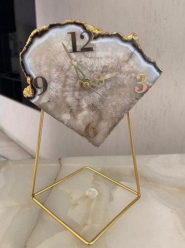 Emaarat Home Natural Agate Table Clock