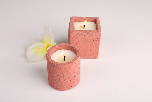 Joyous Beam Red Concrete Candle (Set of 2)