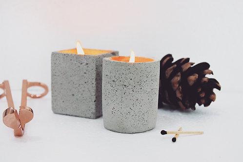 Joyous Beam White Concrete Candle (Set of 2)