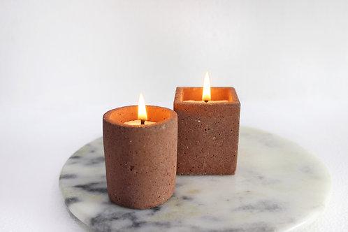 Joyous Beam Coffee Concrete Candle (Set of 2)