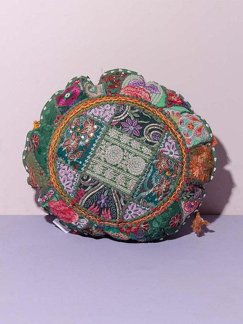 Indian Patchwork Cushion dark green