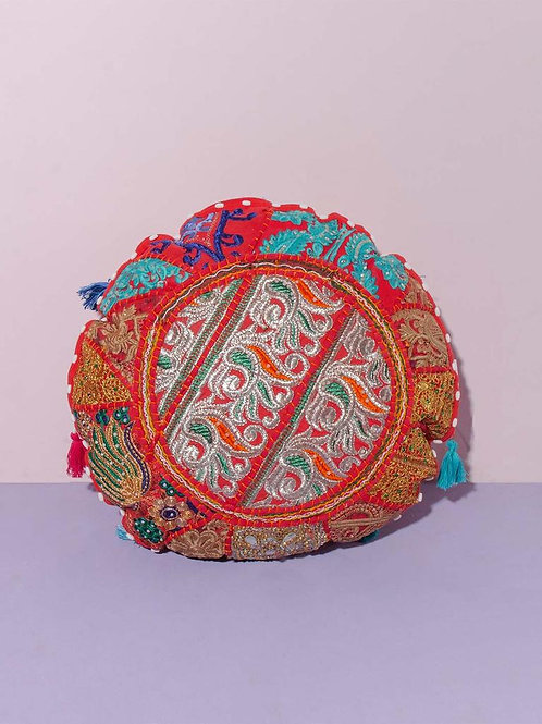 Indian Patchwork Cushion red