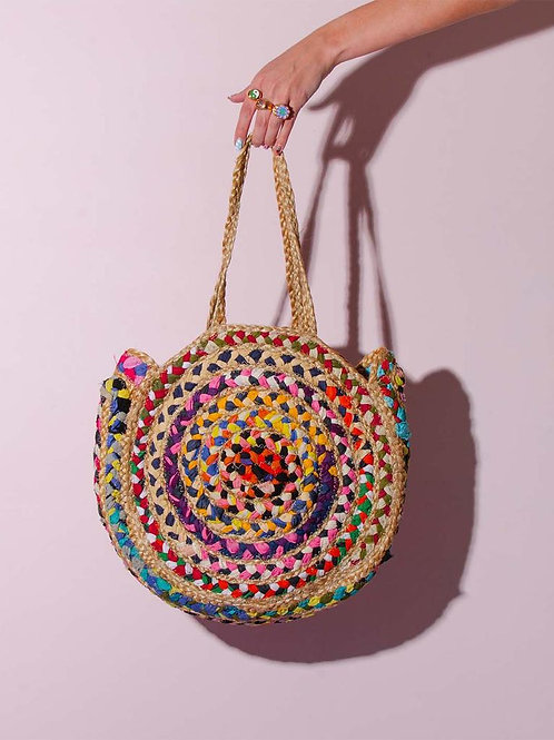 Colored Cotton woven jute bag round