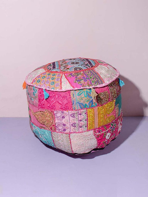 Indian Patchwork Poef Pink
