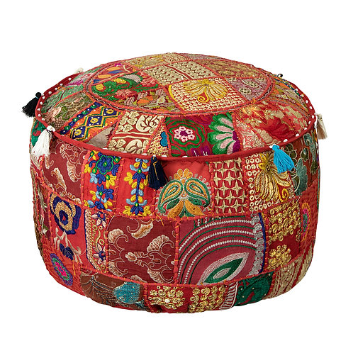 Indian Patchwork Poef red