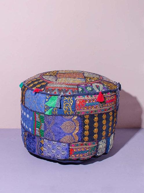 Indian Patchwork Poef Dark Blue