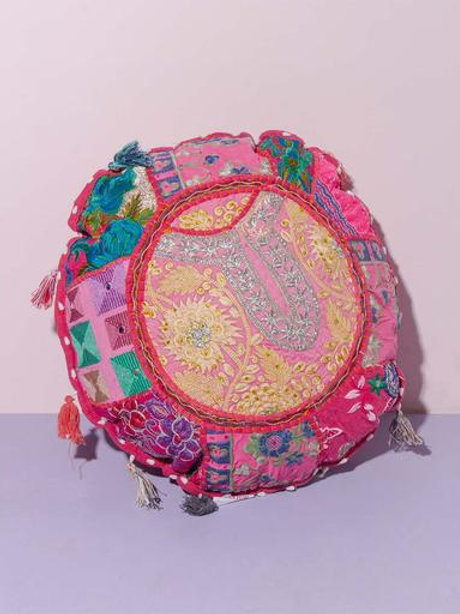 Indian Patchwork Cushion pink