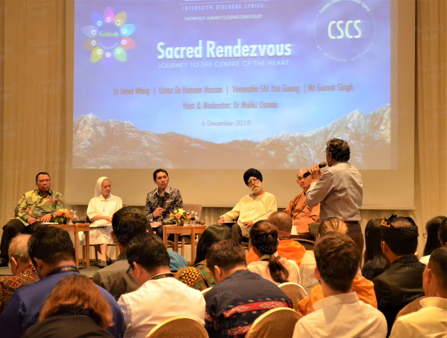 The CSCS interfaith dialogue was the finale of the FA18, discussing the topic 'Sacred Rendezvous', where speakers and the FA participants share on pilgrimages to holy sites of different religions discoursing on the histories, destinations, motivations and impacts of this common spiritual pillar across many beliefs. Interestingly, some holy sites of the different faiths – Judaism, Christianity and Islam, share close proximity within a common location – Jerusalem.  CSCS encourages more interaction for a deeper interfaith and intercultural understanding through the exchanges on key and common cultural and spiritual practices, to foster a greater appreciation of cultures, creeds and customs, hence camaraderie, confidence and commitment.