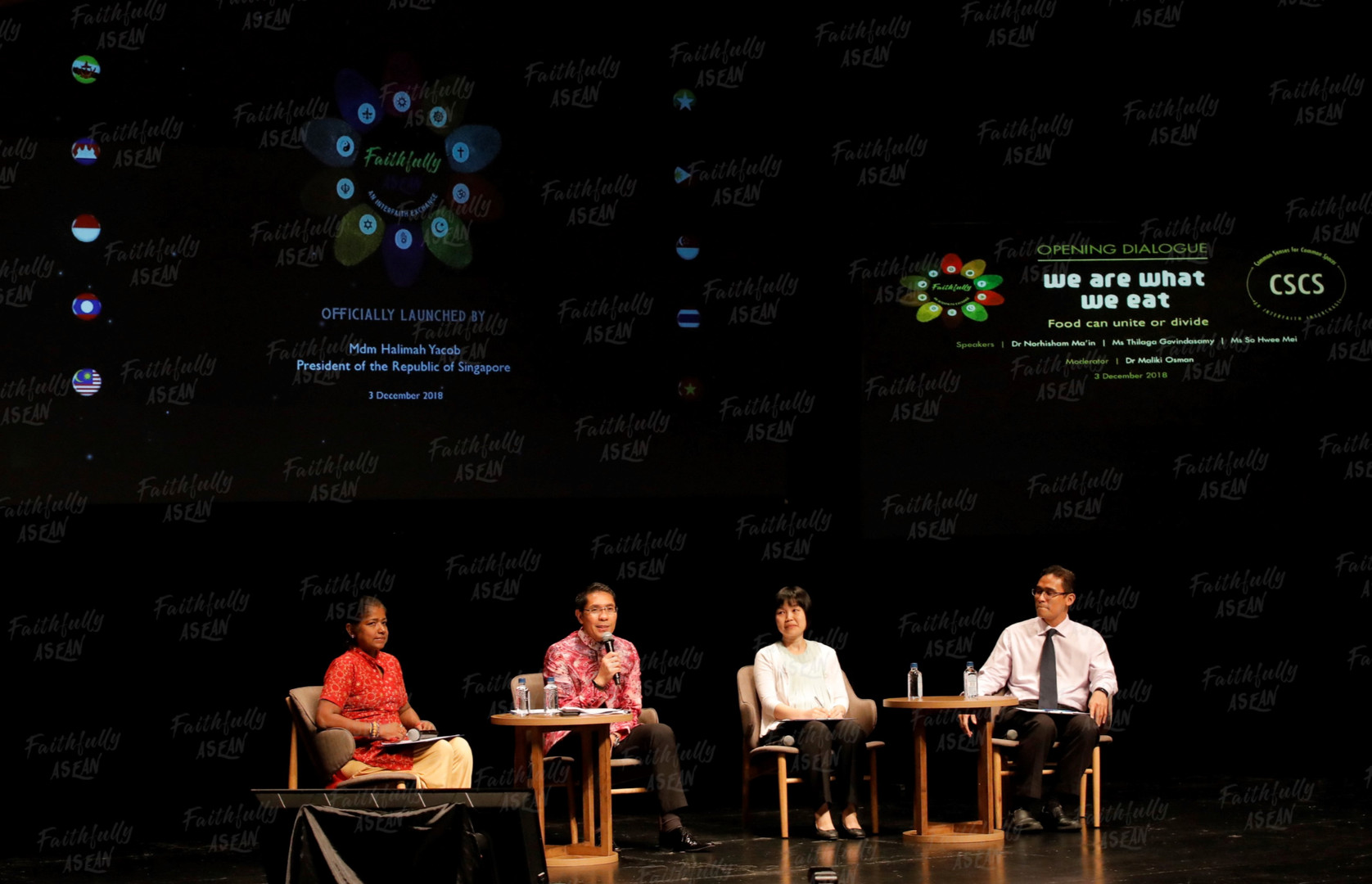 The 'Common Senses for Common Spaces' (CSCS) interfaith albeit non-theological dialogue series – conceived and curated by Singaporean Social Cohesion and Resilience Catalyst, was showcased at the inaugural FA Opening and Closing dialogues.  The Opening Dialogue entitled 'We are What We Eat' hosted a panel of faith practitioners from different religions and professions – a Muslim geriatric consultant, a Buddhist nutritionist and a Hindu physiotherapist, who shared on their respective faith's unique dietary observances, along with common dietary habits and benefits, based on science and spirituality, and discussed the health, religious and social impacts of food on communities.