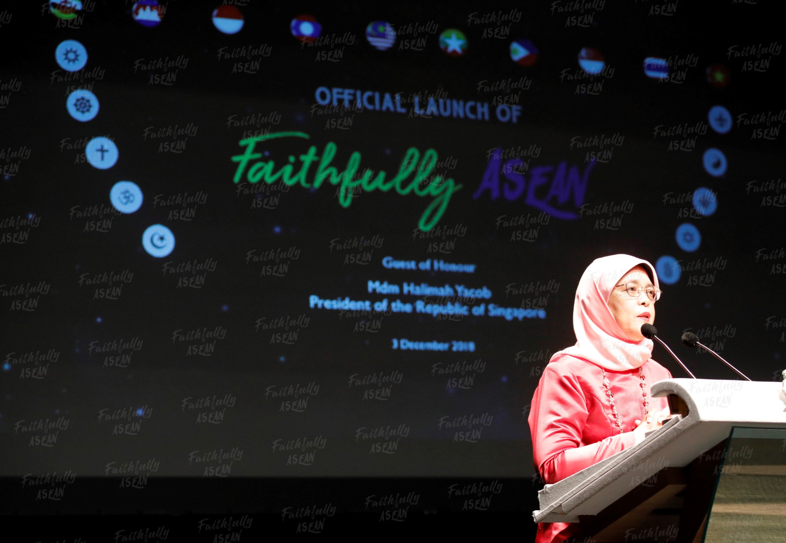 President Halimah Yacob officially launched the Faithfully Asean on 3 December 2018 in Singapore.