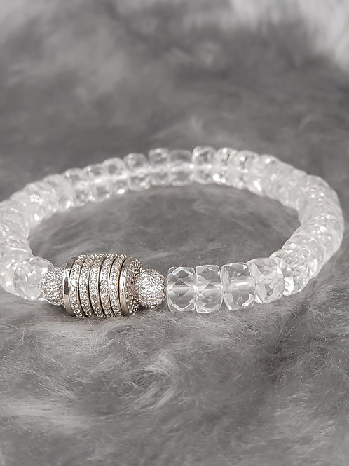 For balancing-Clear Quartz with Micro Pave Drum Spacer