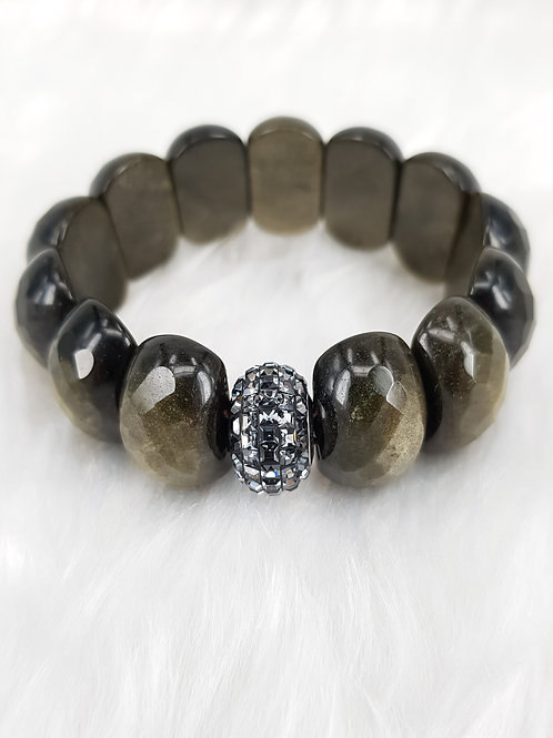 For Protection-Golden Sheen Obsidian with Swarovski Black Crystal Charm