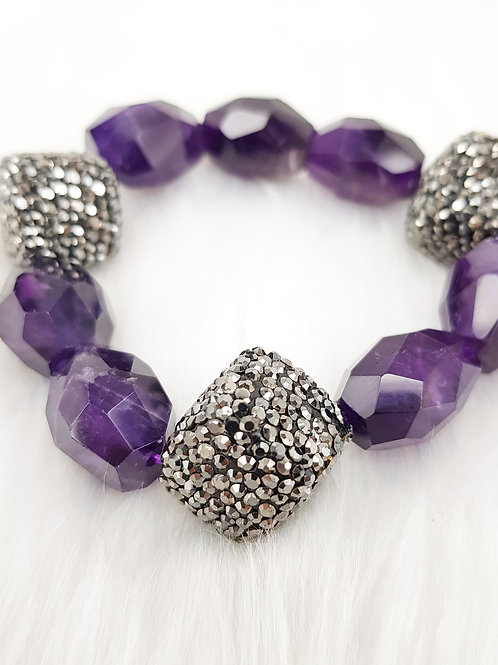 For Calming-Amethyst Nuggets with Black Zirconia Crystals