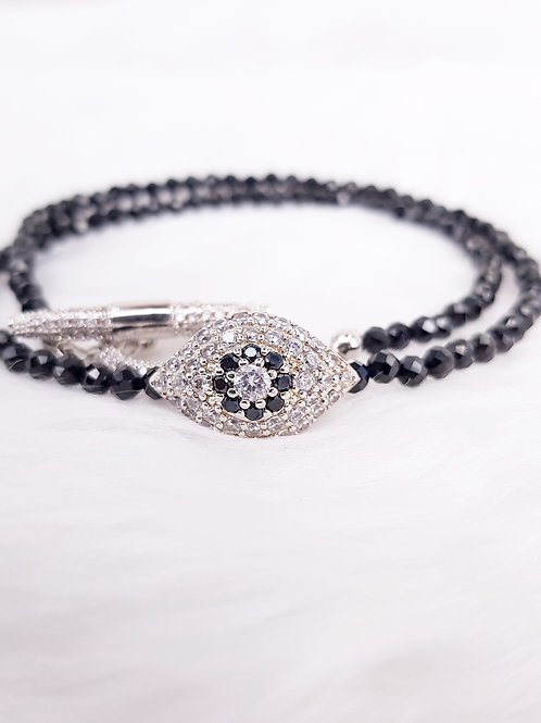 For Protection- Black Spinel Double Twirl Bracelet