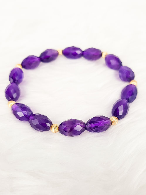 For Wisdom-Amethyst with 14k Gold Filled Beads