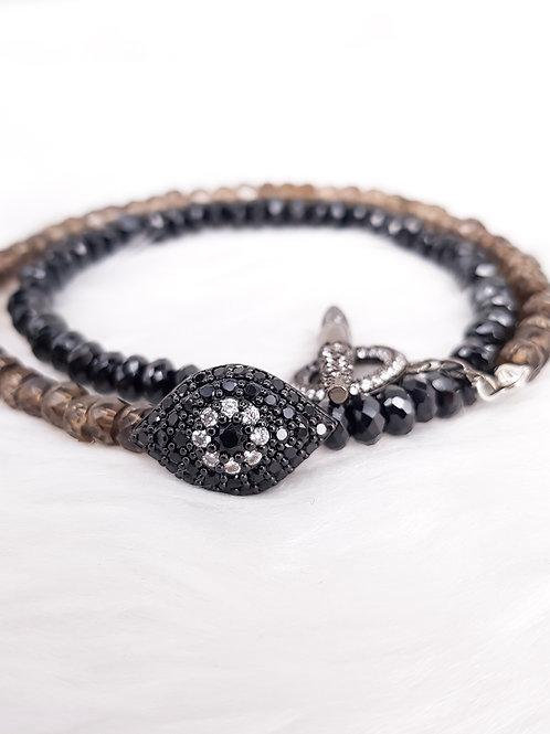 For Clarity- Black Spinel & Smoky Quartz Double Twirl Bracelet