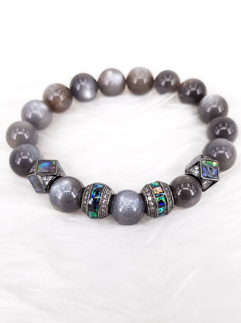For Positivity and Energy-Grey Moonstones with Black Sunstones