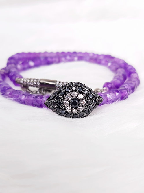 For Wisdom- Amethyst Double Twirl Bracelet