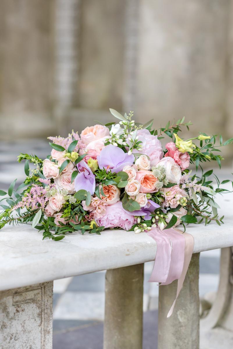 Freeform Bridal bouquet Peonies, Garden Roses, Phalaenopsis