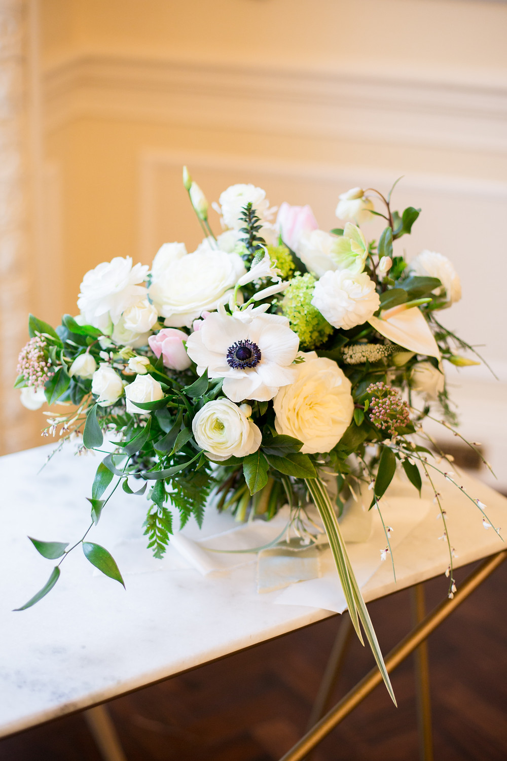 Bridal bouquet, white and green with pops of pink