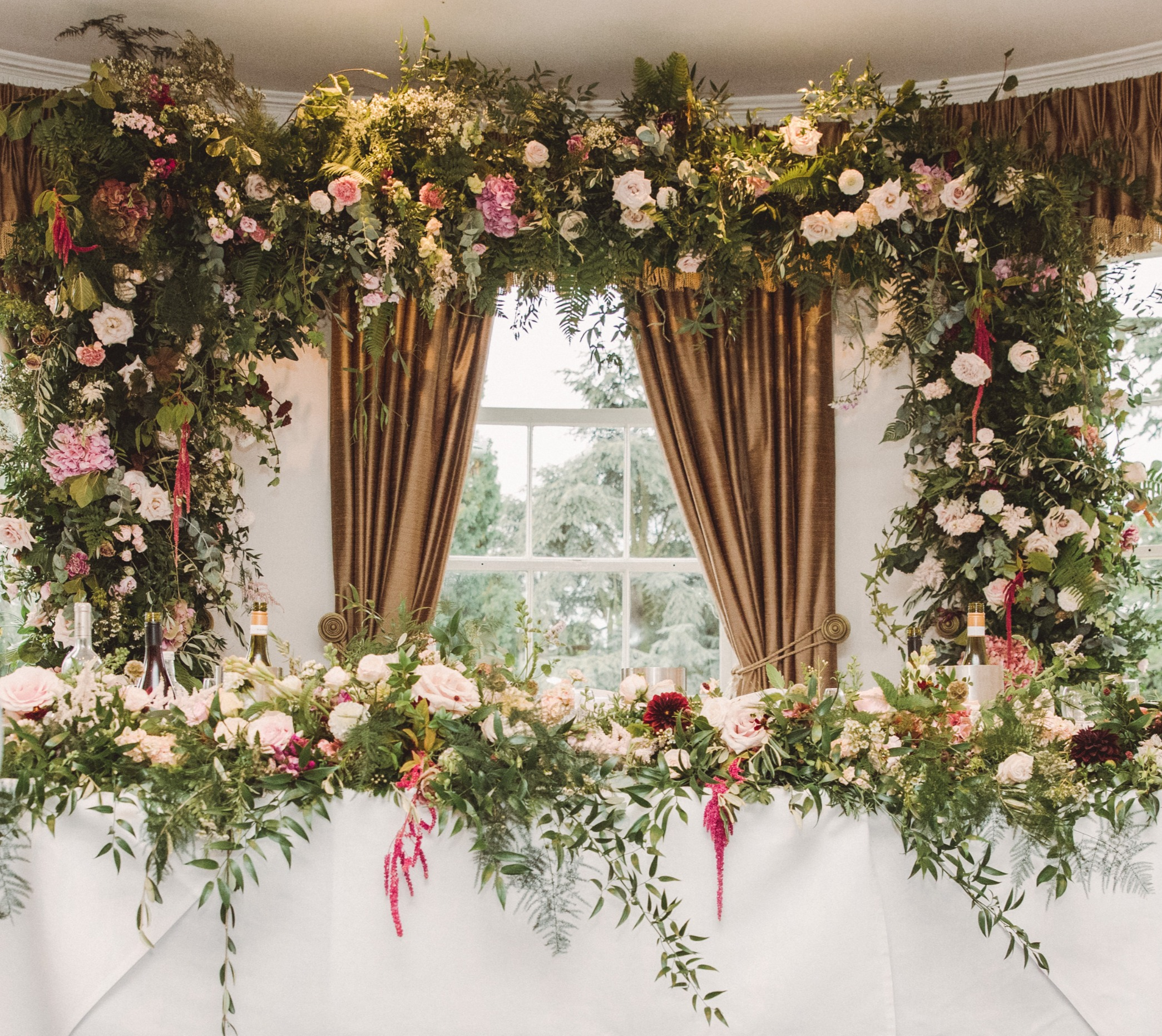 Floral arch and top table