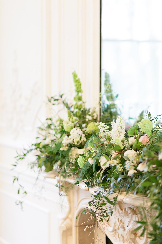 Fireplace Mantle Wedding Flowers
