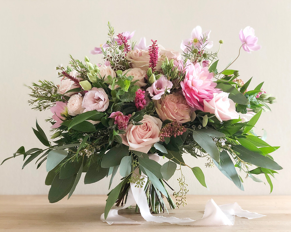 Freeform Bridal bouquet, Dahlia, roses, Lisianthus, Cosmos