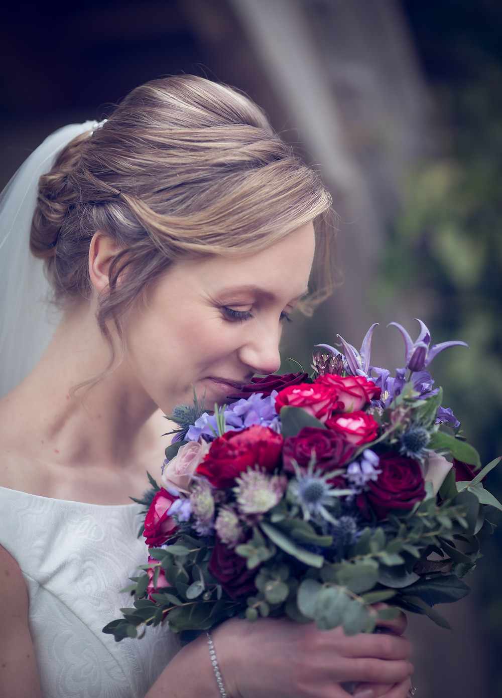 Bridal Bouquet Bluebells and Burgandy shades